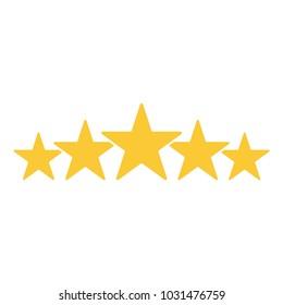 Five star rating. Golden stars. Template design for web or mobile app. Vector illustration