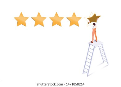 Five star rating isometric vector illustration. Workman standing on ladder cartoon character. Customer feedback, ranking system. Hotel service, product evaluation. Positive review, premium quality