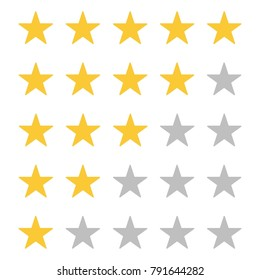 Five star rating. Rate status level. Different ranks from one to five stars. Golden and gray transparent stars. Template design for web or mobile app. Vector illustration