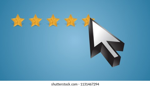 five star review concept. 5 star. bussiness concept illustration. over a white background