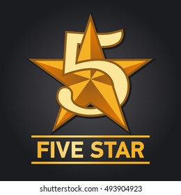 Five star sign. Vector illustration.