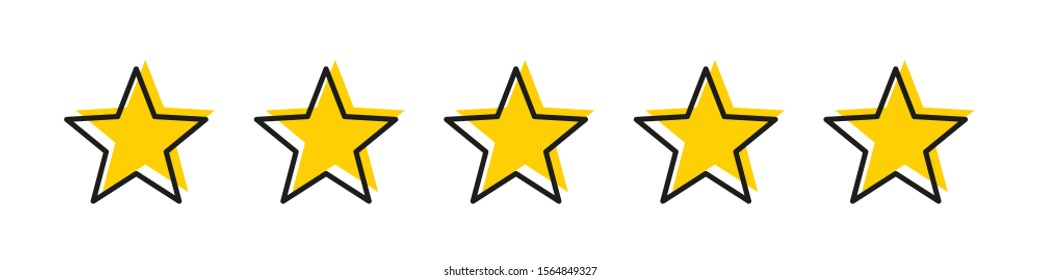 Five star yellow color with stroke isolated vector element. Premium quality. Consumer rating flat icon. Flat design. Customer feedback vector. Customer satisfaction. EPS 10