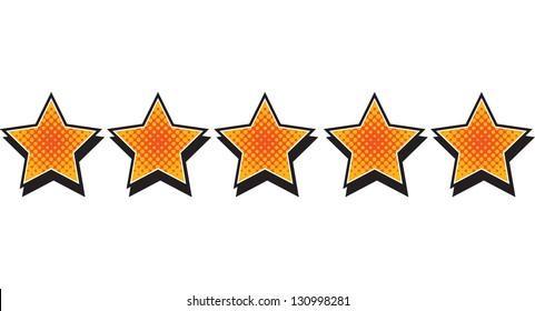 Five Stars - Comic style stars arranged horizontally
