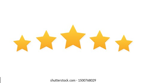 Five stars customer product rating review. Modern flat style vector illustration.