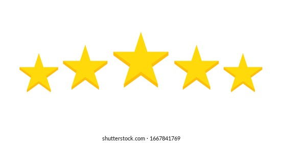 Five stars customer product rating review flat icon for apps and websites on white background. Feedback stars. Vector