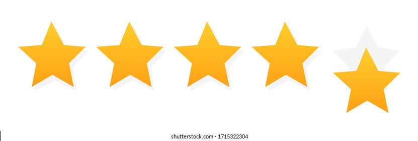 Five stars customer product rating. Flat icon for apps and websites.