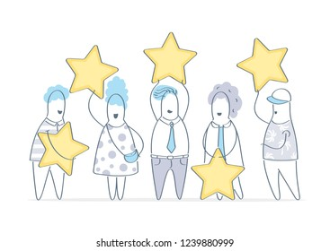 Five stars, evaluation, customers rating. People holding stars. Feedback, consumer or customer review, voting, user review, evaluation, satisfaction level, critic illustration vector concept on white