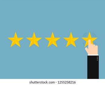 Five stars with hand, stylish design vector illustration