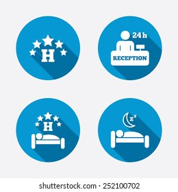 Five stars hotel icons. Travel rest place symbols. Human sleep in bed sign. Hotel 24 hours registration or reception. Circle concept web buttons. Vector