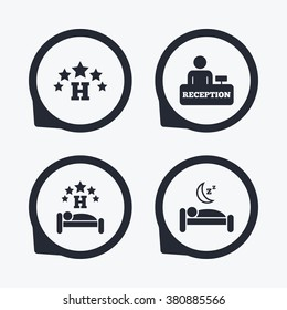 Five stars hotel icons. Travel rest place symbols. Human sleep in bed sign. Hotel check-in registration or reception. Flat icon pointers.