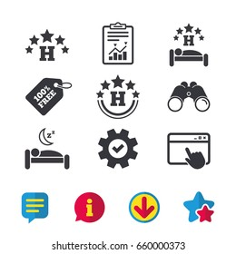 Five stars hotel icons. Travel rest place symbols. Human sleep in bed sign. Browser window, Report and Service signs. Binoculars, Information and Download icons. Stars and Chat. Vector