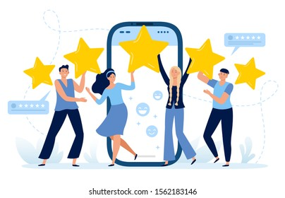 Five stars mobile app feedback. Customers satisfaction, clients leave five star rating and positive feedback. Choice rating review app, customer reviews flat vector illustration