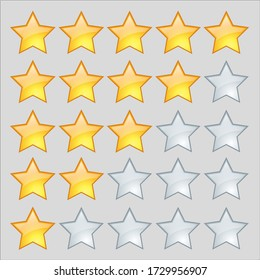 Five Stars to one Stars gold color rating with grey color Vector