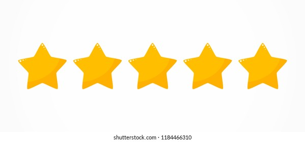 Five stars quality rating icon. Vector illustration
