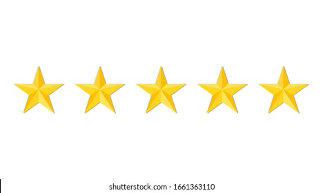 Five stars quality or rating product on white background. Gold stars for restaurant, hotel premium level. Luxury service. Feedback, evaluation, criticism, satisfaction of customer. Top ranking. Vector