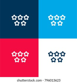 Five stars quality symbol four color material and minimal icon logo set in red and blue