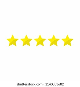 Five stars rating 5 icon. Vector