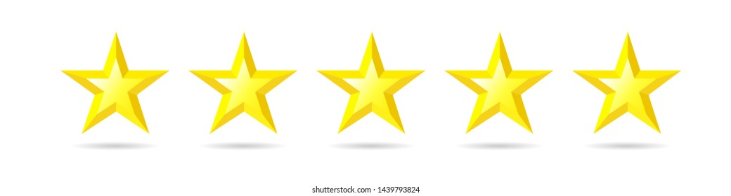 Five stars rating icon. Quality sign, rank star symbol. Yellow facet vector illustration