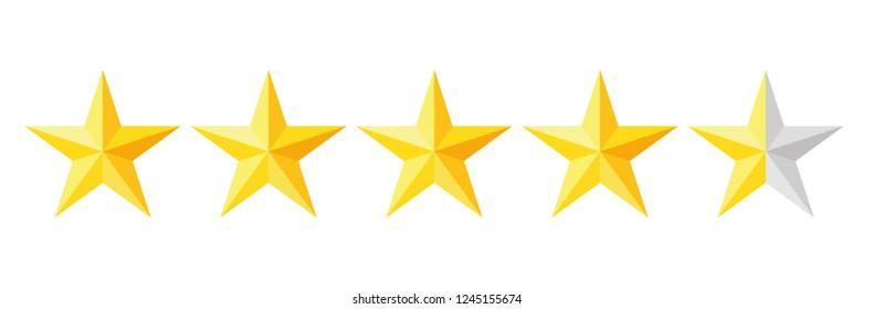 Five stars rating icon. Vector illustration