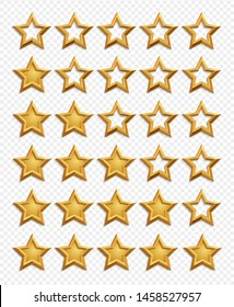 Five stars rating system. Gold stars rating vector isolated on transparent background. Star rating quality, review service ranking illustraion