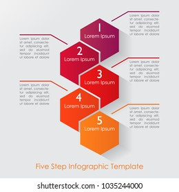 Five step geometric infographic in bright colors and space for text. Vector illustration of a hexagon style business and finance information layout template.