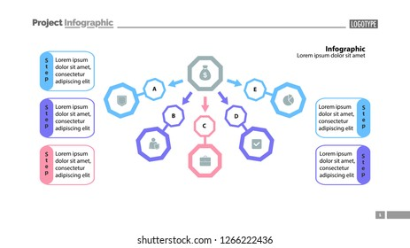 Five step process chart slide template design. Element of chart, diagram, infographic. Concept for presentation, annual report, slide template. Can be used for topics like banking, finance, money