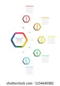 five steps 3d infographic template with hexagonal elements. business process template with options for brochure, diagram, workflow, timeline, web design