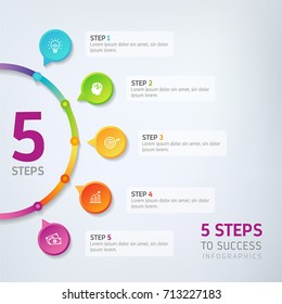 Five steps infographics - can illustrate a strategy, workflow, team work, options or way to success.