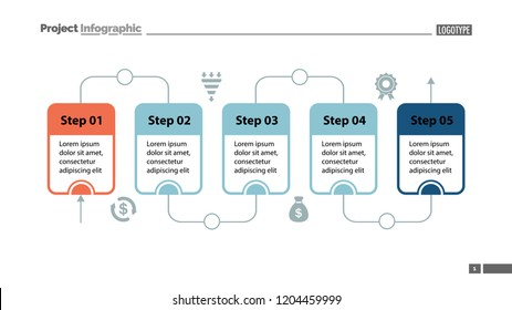 Five steps process chart slide template. Business data. Flow, diagram, design. Creative concept for infographic, presentation. Can be used for topics like management, workflow, teamwork.