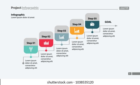 Five steps process chart template design. Element of chart, diagram, presentation. Concept for annual report, infographic, web design. Can be used for topics like business, success, strategy
