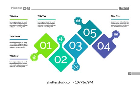 Five steps project process chart template for presentation. Vector illustration. Abstract elements of diagram, graph, infochart. Idea, planning, business or research concept for infographic, report.