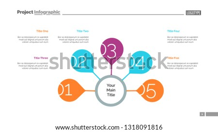 Five Steps Strategy Slide Template Business Stock Vector (Royalty