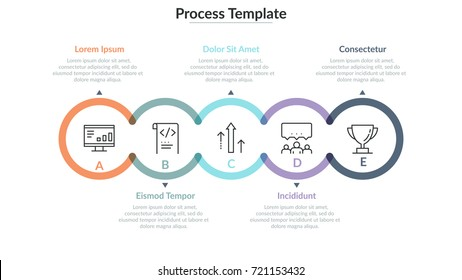 Five translucent round elements with thin line pictograms inside connected into horizontal chain. Concept of 5 successive steps to project completion. Infographic design template. Vector illustration.