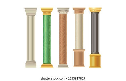 Five Types Of Columns Colorful Vector Illustration Set