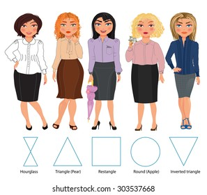 Five types of woman figures in business dresses: hourglass, triangle, rectangle, round and inverted triangle, vector hand drawn illustration