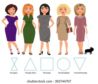 Five types of woman figures in business dresses: hourglass, triangle, re?tangle, round and inverted triangle, vector hand drawn illustration