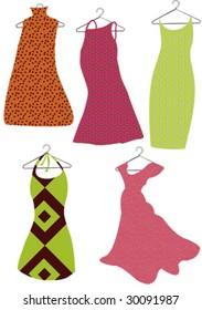 five vector dresses