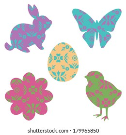 Five Vector Easter Icons filled with Pattern