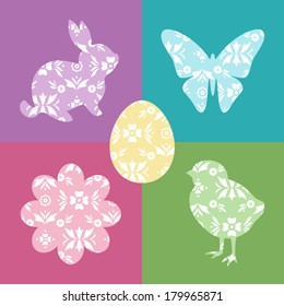 Five Vector Easter Icons filled with Pastel Pattern
