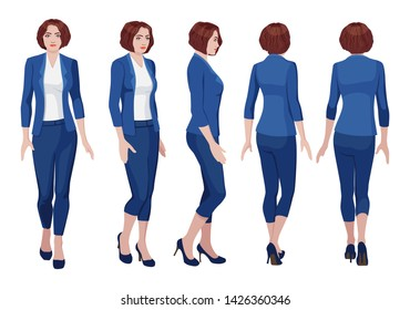 five vector images of a turning business woman. Front, profile, three-quarter, back