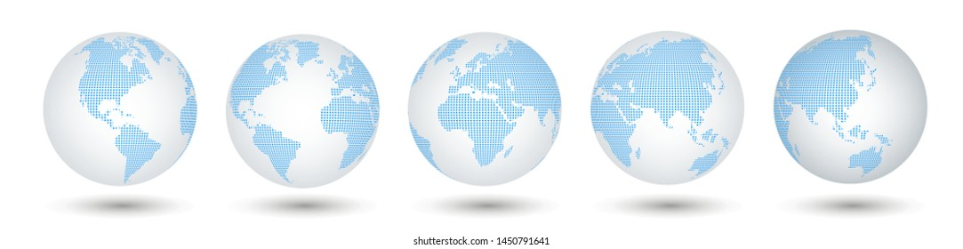 Five viewing angles - globes of Earth. Futuristic concept. 3D world maps in globe shape with transparent texture and shadow. Vector set from five viewing angles. Vector collection