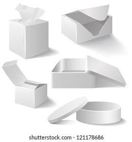 Five white boxes isolated on white