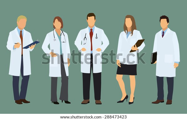 Five White or Caucasian Doctors Both Sexes, Male and Female