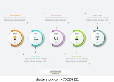 Five white circular elements with thin line symbols inside placed into horizontal row. Concept of 5 successive steps of business development. Modern infographic design template. Vector illustration.