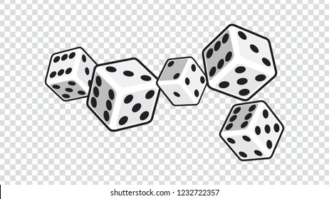 five white dices isolated on transparent background. vector illustration.