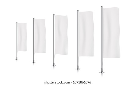 Five white vertical banner flags, standing in a perspective row. Banner flag templates isolated on background. Vertical flags realistic mockup.