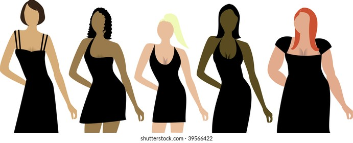 Five women of different shapes, sizes and ethnicities with black dress. Can be used for a party invitation, diversity or sizing.