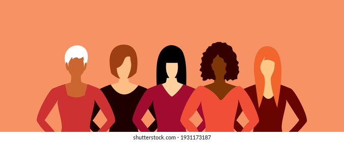 Five women of different skin, hair and clothes stand together. International Women's Day. The concept of women's friendship and the movement for women's rights.