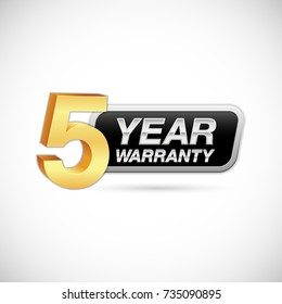 five year warranty golden and silver badge isolated on white background