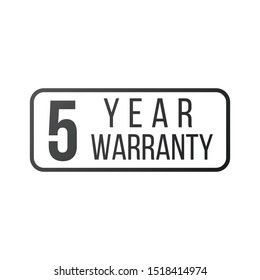 Five year warranty stamp or sign, vector illustration isolated on white background.